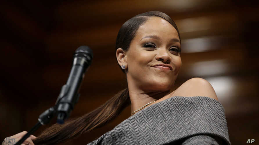 Singer Rihanna addresses an audience after being presented with the 2017 Harvard University Humanitarian of the Year Award during ceremonies, Feb. 28, 2017.