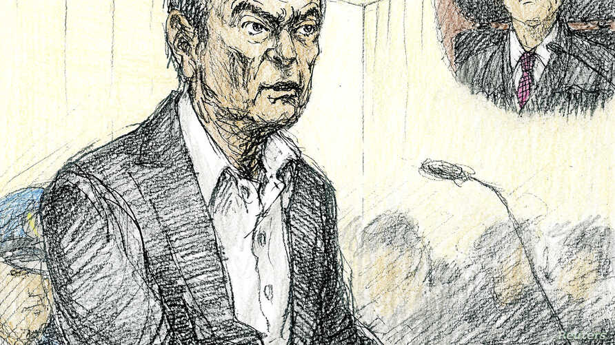 A court sketch, drawn by Nobutoshi Katsuyama, shows ousted Nissan Motor Co Ltd chairman Carlos Ghosn during an open hearing at Tokyo District Court in Japan, Jan. 8, 2019.