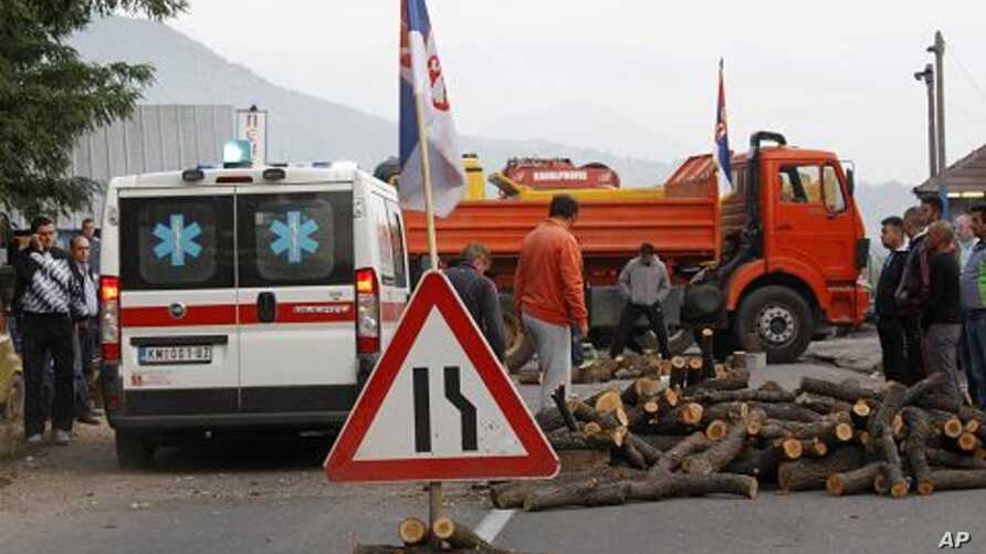 Local Serbs block access to border crossing in Jarinje on Kosovo-Serbia border to protest against Kosovo special police units operation overnight to take control of two disputed border crossings in Kosovo's northern Serb-run border region, July 26, 2