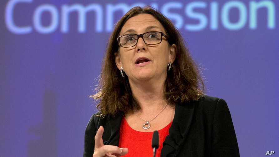 European Commissioner for Trade Cecilia Malmstrom speaks during a media conference at EU headquarters in Brussels, Sept. 18, 2018.