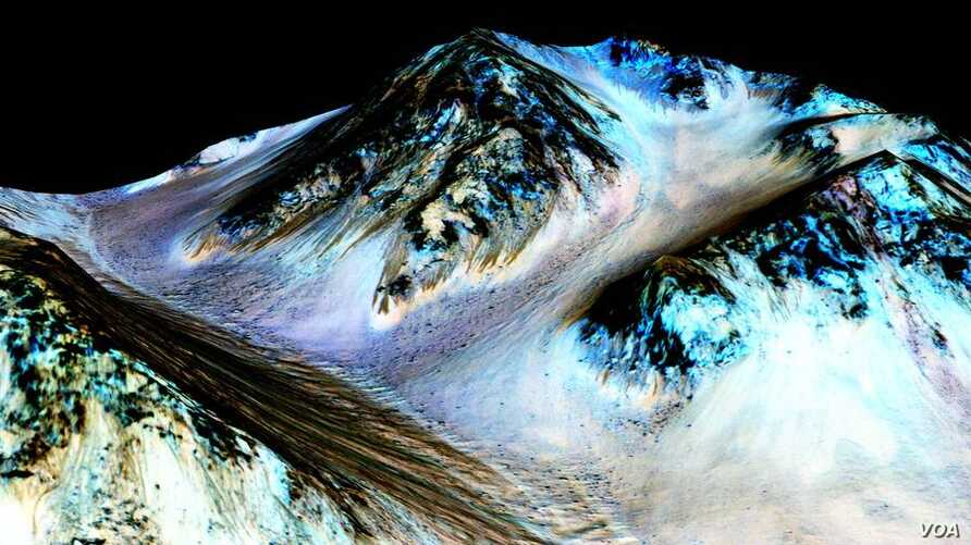These dark, narrow, 100-meter-long streaks called recurring slope lineae flowing downhill on Mars are inferred to have been formed by contemporary flowing water.