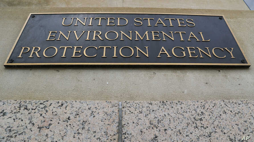 FILE - A marker on the outside of the Environmental Protection Agency building in Washington.