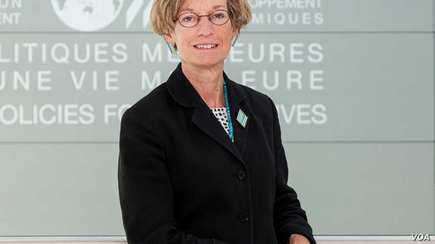 FILE - OECD Chief Economist Catherine Mann.
