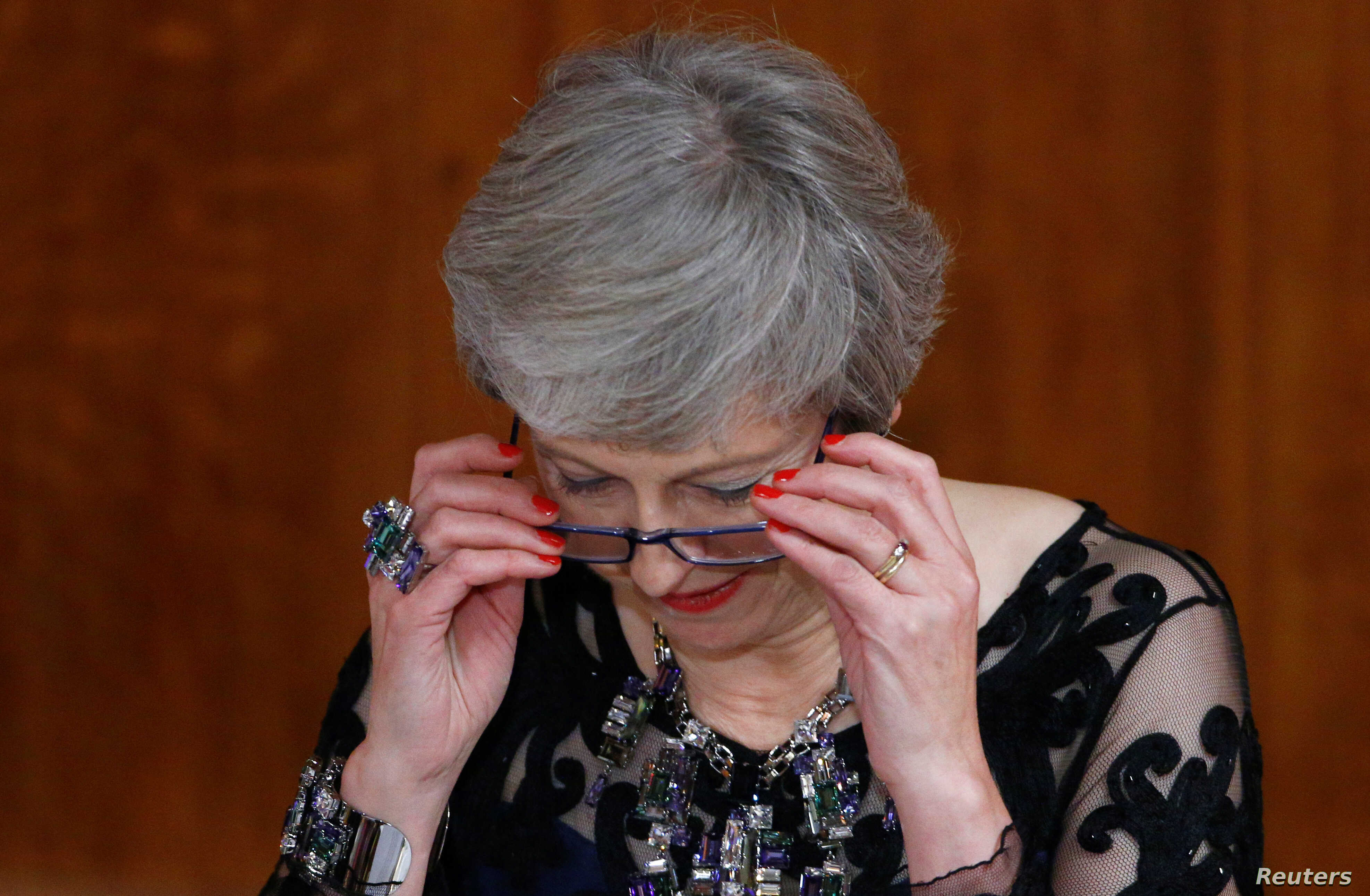 Britain's Prime Minister Theresa May delivers a speech during the annual Lord Mayor's Banquet at Guildhall in London, Britain, November 12, 2018.