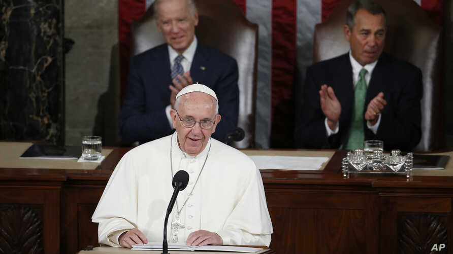 Pope Francis addresses a joint meeting of Congress on Capitol Hill  in Washington, Sept. 24, 2015, making history as the first pontiff to do so.