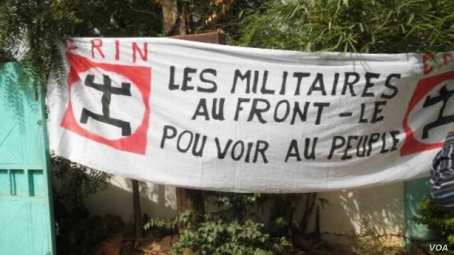 Sign at a demonstration against the coup d'etat, held on March 26 in Bamako, Mali. The sign reads, 'Military to the front lines, power to the people'. (Courtesy of Boubacar Ibrahim)