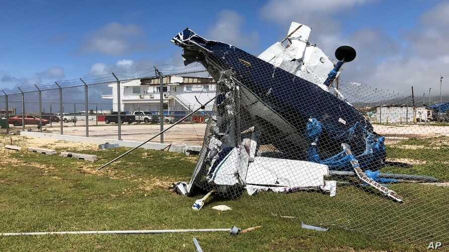A damaged plane sits at the airport after Super Typhoon Yutu hit the U.S. Commonwealth of the Northern Mariana Islands, Oct. 26, 2018, in Garapan, Saipan.