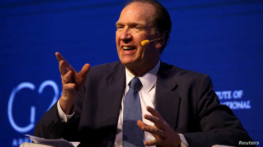 FILE - David Malpass, under secretary for international affairs at the U.S. Department of the Treasury, gestures during a 2018 G-20 conference in Buenos Aires, Argentina, March 18, 2018.