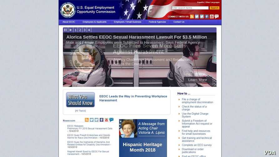 A portion of the home page of the Equal Employment Opportunity Commission.