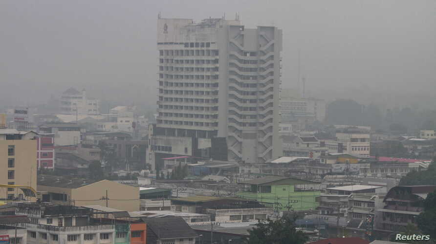 A view of Yala city is pictured as a haze shrouds Muang district in the troubled southern province of Yala, Thailand, October 22, 2015.
