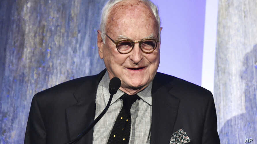 "FILE - In this Nov. 27, 2017, photo, producer James Ivory accepts the best feature award for ""Call Me by Your Name"" at the 27th annual Independent Film Project's Gotham Awards at Cipriani Wall Street in New York"