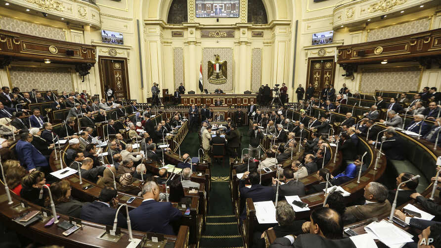 Egypt's Parliament meets to deliberate over constitutional amendments that could allow President Abdel-Fattah el-Sissi to stay in office till 2034, in Cairo Egypt, Wednesday, Feb 13, 2019.