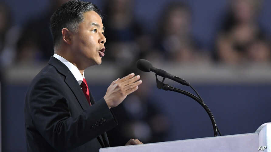 Rep. Ted Lieu, D-Calif., speaks during the final day of the Democratic National Convention in Philadelphia, July 28, 2016.