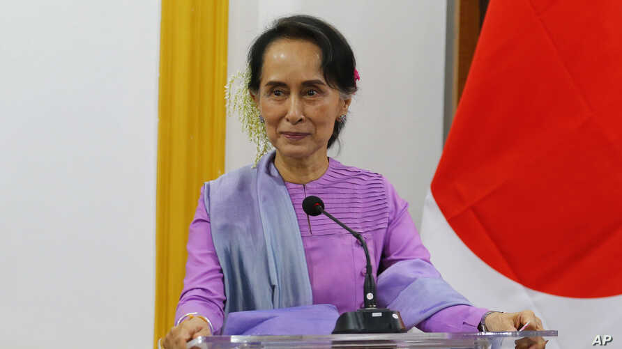 Myanmar's State Counselor and Foreign Minister Aung San Suu Kyi speaks to the media during a joint press conference with Japanese Foreign Minister Taro Kono at the Ministry of Foreign Affairs in Naypyitaw, Jan. 12, 2018.