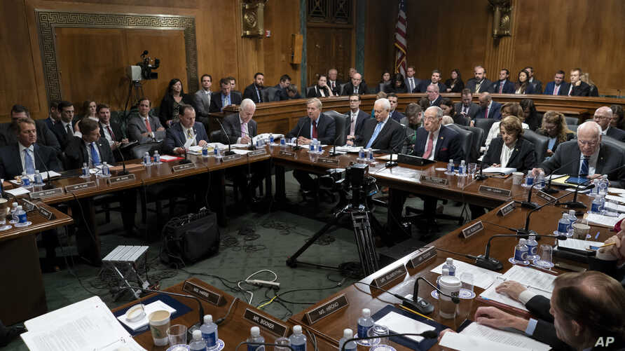 Amid President Donald Trump's repeated criticism of special counsel Robert Mueller's Russia investigation, the Senate Judiciary Committee works on a bipartisan bill to protect the special counsel should Trump try to fire him, on Capitol Hill in Washi
