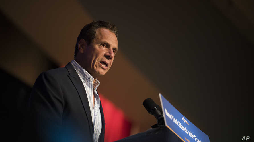 FILE - Governor Andrew Cuomo announces new hurricane recovery efforts for Puerto Rico, Sept. 24, 2017 in New York. The effort include partnering with private and government organizations to get aid to Puerto Rico.