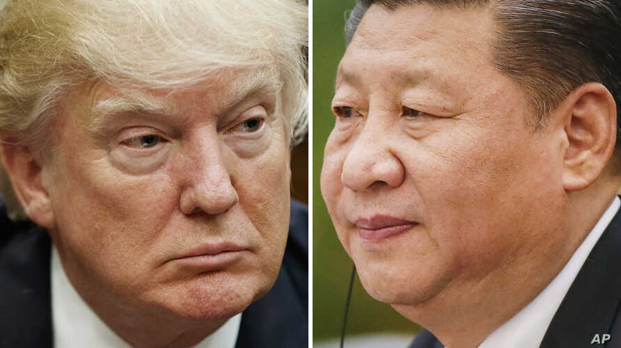 FILE - This combination of file photos shows U.S. President Donald Trump on March 28, 2017, in Washington, left, and Chinese President Xi Jinping on Feb. 22, 2017, in Beijing.  Xi and Trump will meet at the latter's Florida resort on April 6-7. It wi