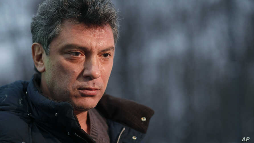 FILE - Boris Nemtsov speaks to The Associated Press Television News in Moscow, Russia, Dec. 21, 2011.