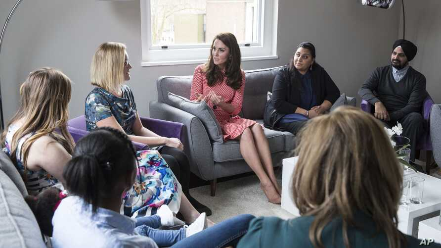Catherine, the Duchess of Cambridge, attends the launch of Maternal Mental Health Films ahead of Mother's Day with Best Beginnings and Heads Together at The Royal College of Obstetricians and Gynaecologists.