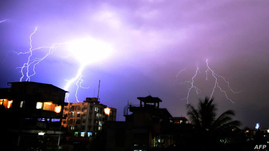 Lightning illuminates the night sky during a storm over Guwahati on April 18, 2016.