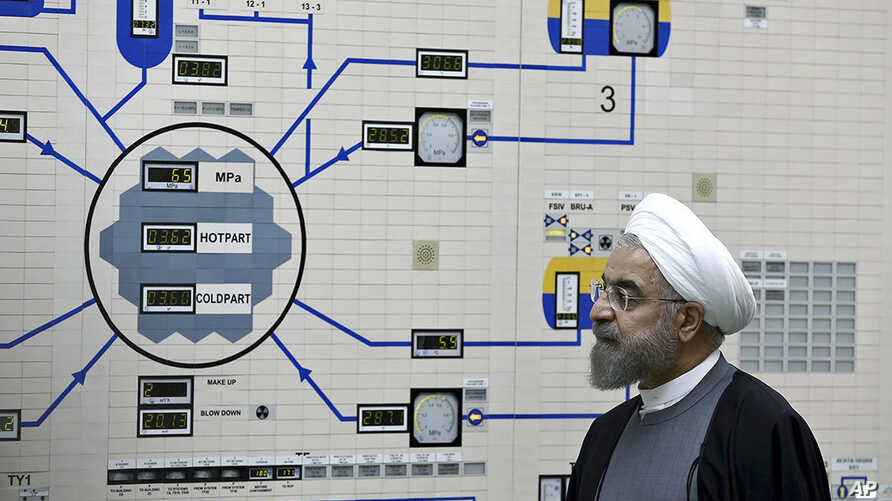 FILE - Iran's President Hassan Rouhani visits the Bushehr nuclear power plant, Jan. 13, 2015.