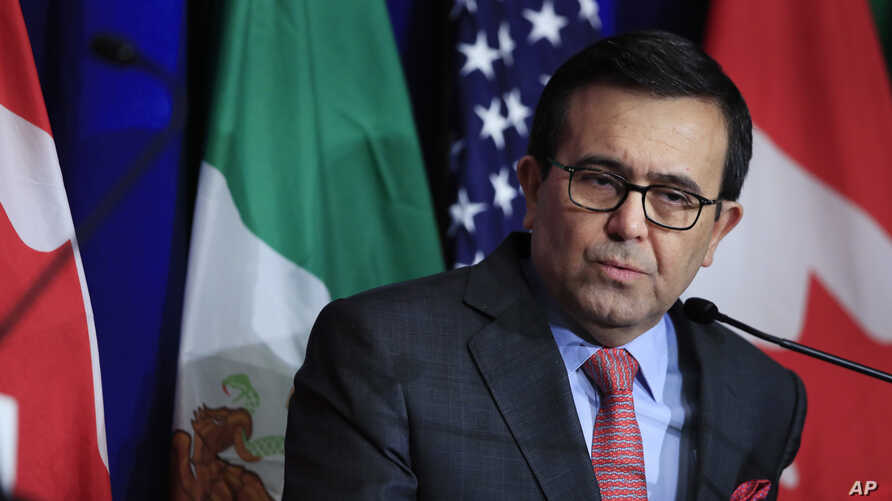 Mexico's  Economy Minister Ildefonso Guajardo Villarreal speaks following negotiations for a new North American Free Trade Agreement (NAFTA), in Washington, Oct. 17, 2017.