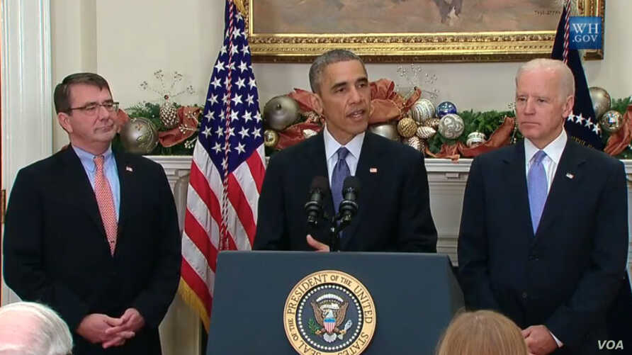 President Obama announces that Ashton Carter, left, is his nominee for U.S. Defense Secretary as Vice President Biden looks on.