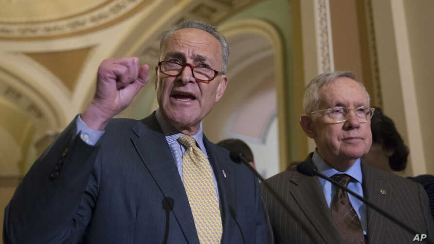 Sen. Charles Schumer, D-N.Y., joined at right by Senate Minority Leader Harry Reid of Nev., criticizes Republican lawmakers for being too tied to the NRA and the gun lobby, during a news conference on Capitol Hill in Washington, Tuesday, June 14, 201