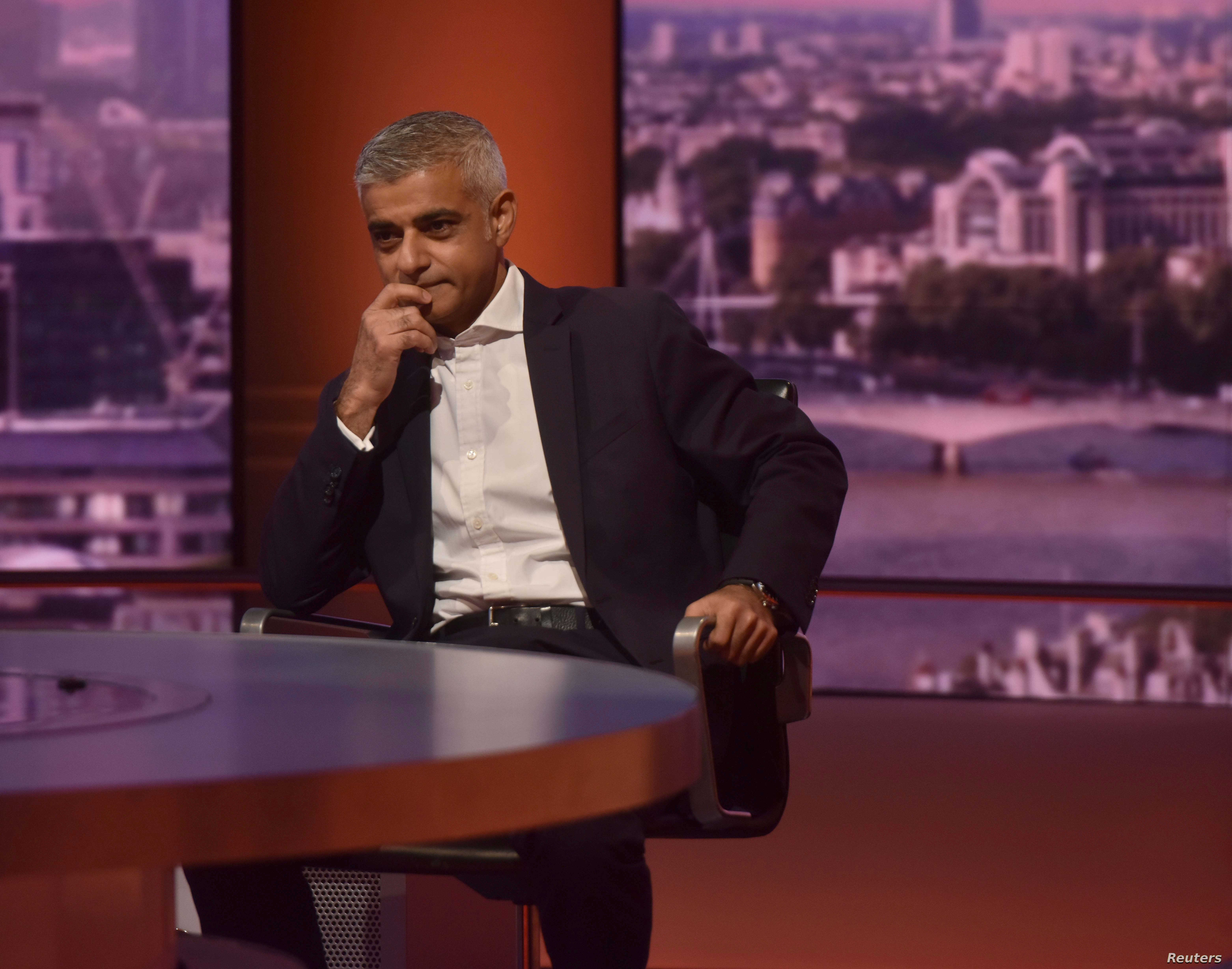 The Mayor of London, Sadiq Khan, appears on the BBC's Andrew Marr Show, in London, Britain, Sept. 16, 2018.
