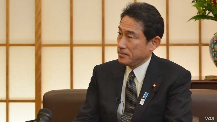 Japanese Foreign Minister Fumio Kishida is interviewed by VOA, Tokyo, February 27, 2013.