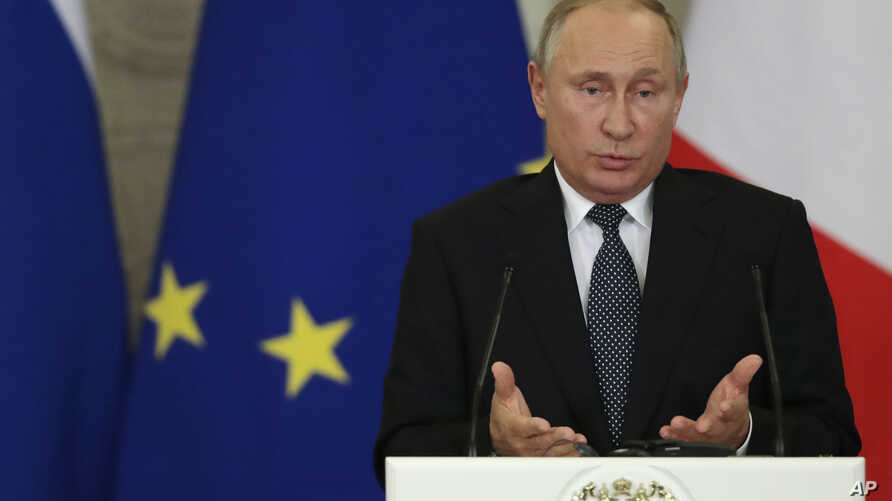 Russian President Vladimir Putin speaks during a joint news conference with Italian Prime Minister Giuseppe Conte (not pictured) in the Kremlin in Moscow, Oct. 24, 2018.