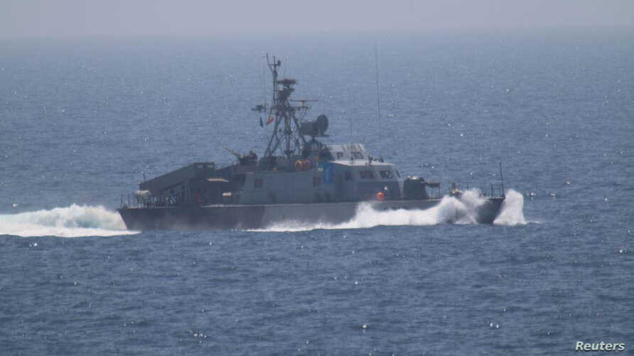 One of the five military vessels from Iran's Revolutionary Guard Corps that approached a U.S. warship hosting one of America's top generals on a day trip through the Strait of Hormuz, July 11, 2016.
