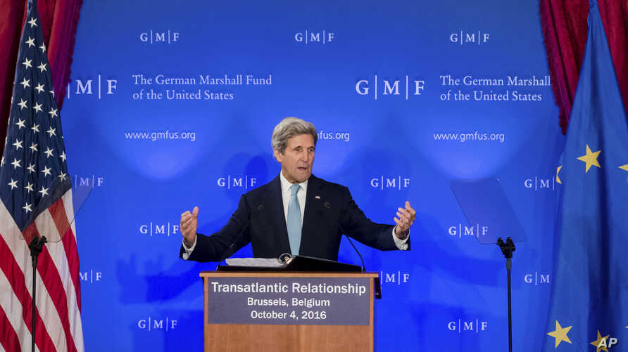 "U.S. Secretary of State John Kerry talks on the future of ""Transatlantic Relations"" during an event hosted by The German Marshall Fund (GMF) and the U.S. Mission to the EU at Concert Noble in Brussels, Oct. 4, 2016."