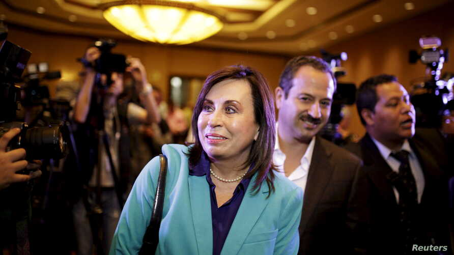 Guatemalan presidential candidate Sandra Torres arrives for a news conference in Guatemala City, Sept. 7, 2015.