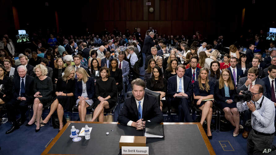 President Donald Trump's Supreme Court nominee, Brett Kavanaugh, a federal appeals court judge, arrives before the Senate Judiciary Committee on Capitol Hill in Washington, Sept. 5, 2018.