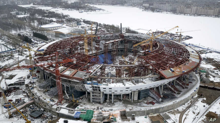 An aerial view taken on  Feb. 15, 2015 shows the construction site of the new Stadium which will host matches of the 2018 World Cup in St.Petersburg, Russia.