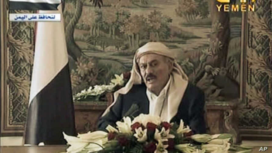 Image made from video shows Yemeni President Ali Abdullah Saleh during a televised address from Saudi Arabia on Aug. 16, 2011
