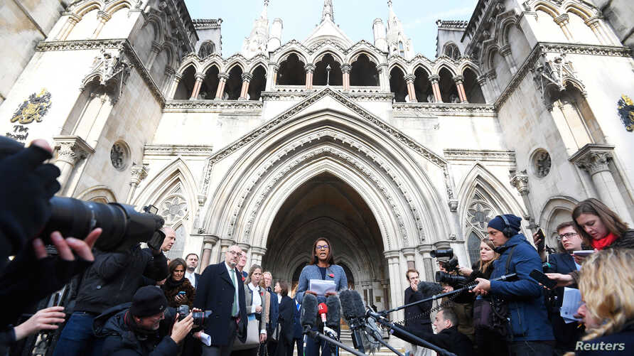 Gina Miller speaks outside the High Court following its ruling on a challenge to the British government's right to start divorce proceedings from the European Union, in central London, Nov. 3, 2016.