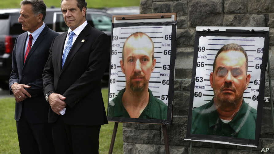 Vermont Governor Peter Shumlin, left, and New York Governor Andrew Cuomo during a news conference in front of the Clinton Correctional Facility in Dannemora, N.Y., June 10, 2015..