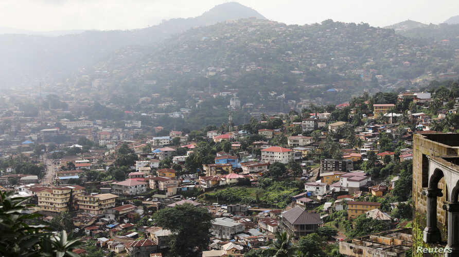 FILE - General view shows the city center of Freetown, Sierra Leone, Aug. 19, 2017.