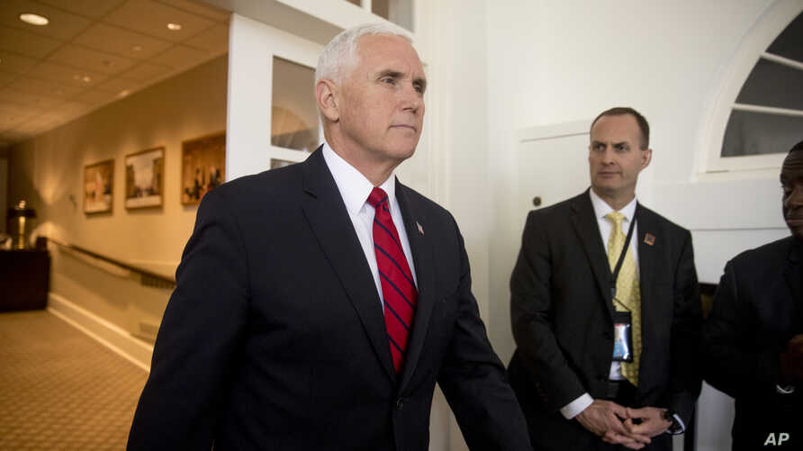 FILE - Vice President Mike Pence arrives for a news conference in the Rose Garden at the White House, June 7, 2018, in Washington.
