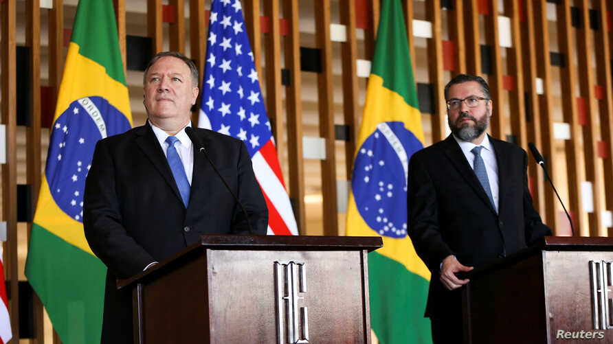 U.S. Secretary of State Mike Pompeo, left, attends a meeting with Brazil's Foreign Minister Ernesto Araujo at Itamaraty Palace in Brasilia, Brazil, Jan. 2, 2019.