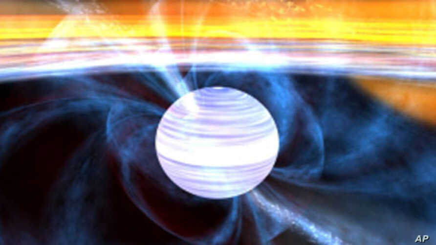 This artists drawing zooms into a neutron star and its accretion disk to show a millisecond pulsar in close-up.