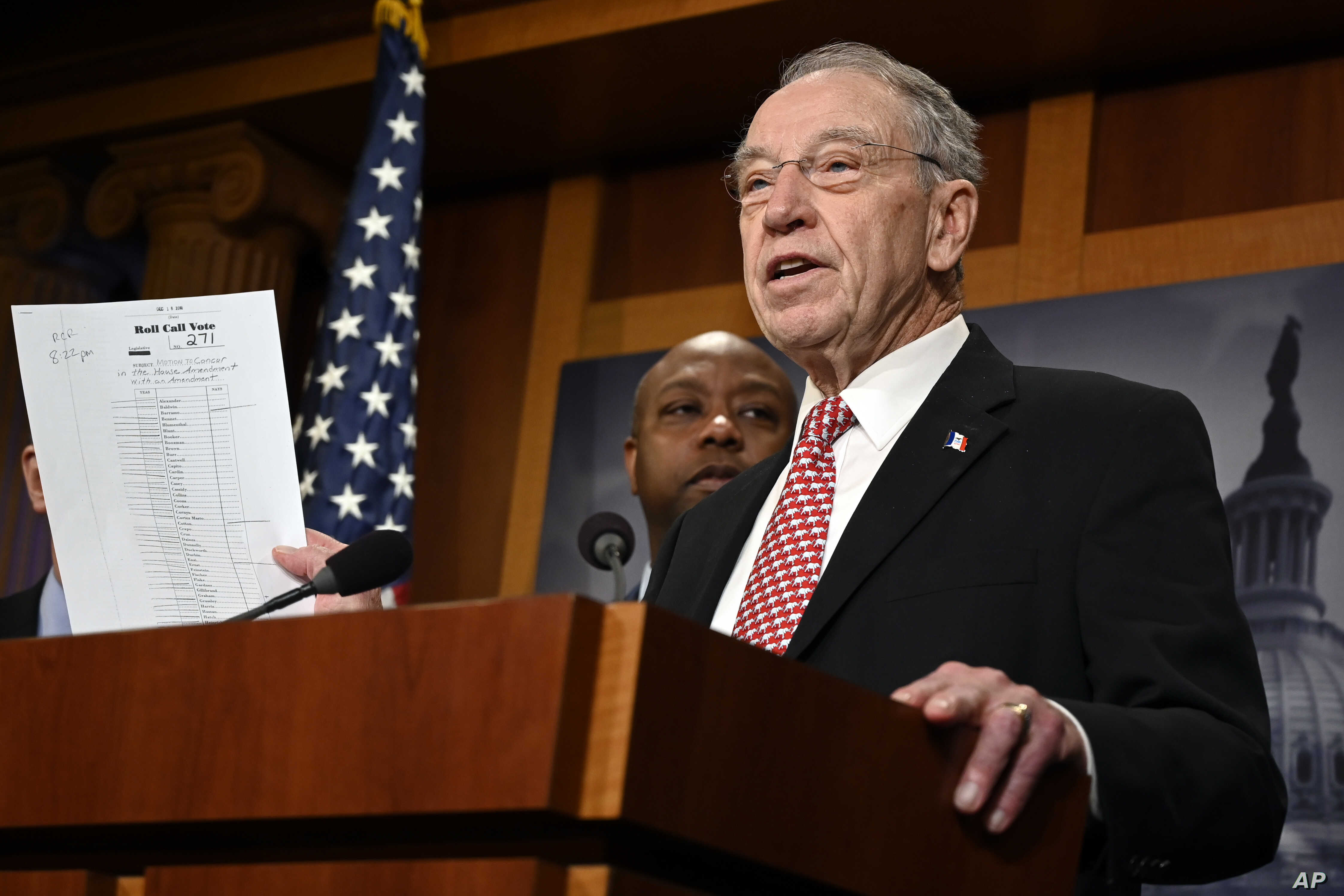 Sen. Chuck Grassley, R-Iowa, speaks during a news conference on Capitol Hill, Dec. 19, 2018, on prison reform legislation.