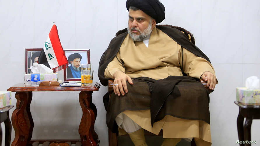 Iraqi Shi'ite cleric Muqtada al-Sadr meets with ambassadors of Turkey, Jordan, Saudi Arabia, Syria and Kuwait, in Najaf, Iraq, May 18, 2018.