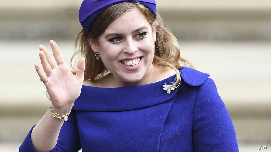 Britain's Princess Beatrice is pictured at the wedding of Princess Eugenie and Jack Brooksbank at St. George's Chapel in Windsor Castle, Oct. 12, 2018.