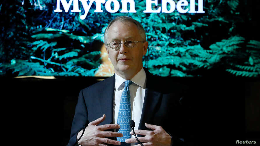 Myron Ebell, who leads U.S. President Donald Trump's Environmental Protection Agency's transition team, holds a speech at the Solvay library in Brussels, Belgium. Feb. 1, 2017.
