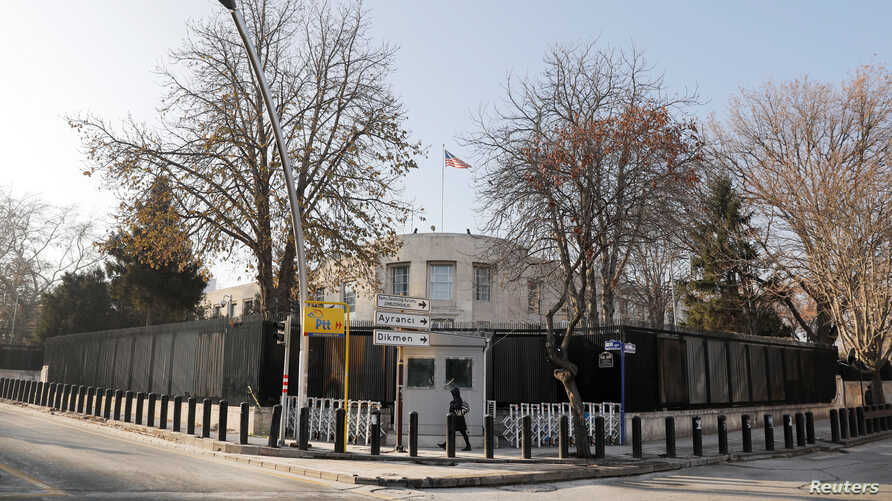 FILE - A general view of the U.S. Embassy in Ankara, Turkey, Dec. 20, 2016.