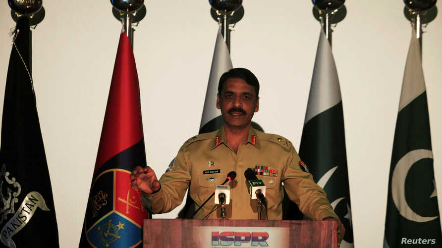 Maj. Gen. Asif Ghafoor, director general of Inter Services Public Relations, speaks during a news conference in Rawalpindi, Pakistan, April 17, 2017.