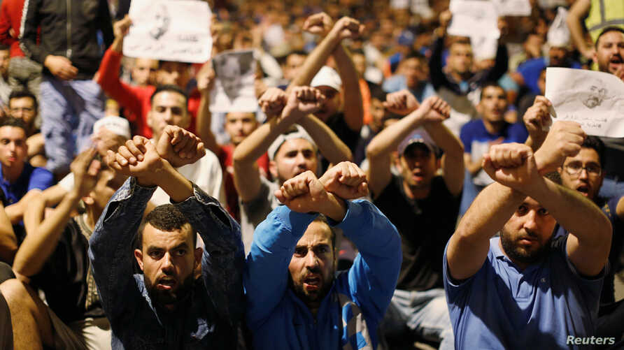 Moroccans take part in a demonstration against official abuses and corruption in the town of Al-Hoceima, Morocco, early June 3, 2017.